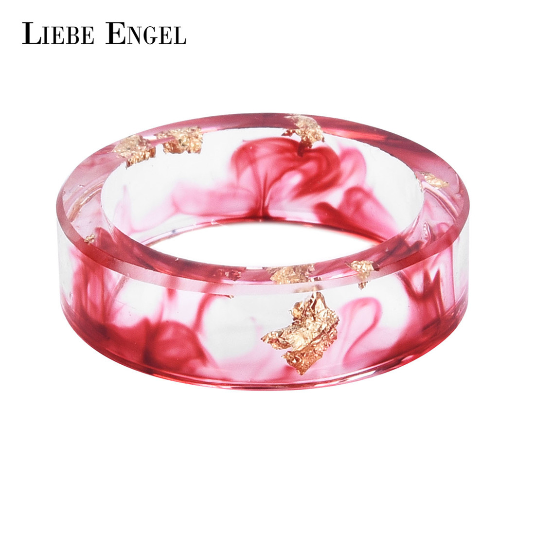 LIEBE ENGEL Hot Sale 8 Colors Gold Foil Paper Inside Resin Ring Women Men Jewelry Colorful High Handmade Ring