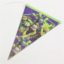 2.5M Cartoon Theme Ninja Turtle Party Paper Flags Decoration Baby Shower Banners Pennats Kids Favors Birthday Bunting Supplies