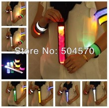 10pcs/lot 35CM Waterproof Nylon LED Sport Jogging Wrist Strap Wristband LED Glowing Armband Light Flash Hair band Party Favors