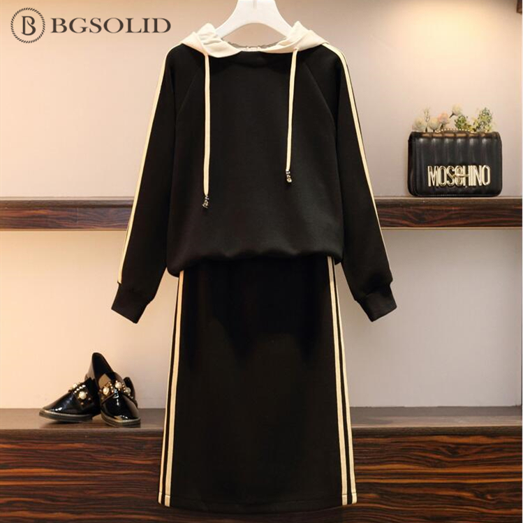 Spring 2019 large size women's dress fat MM long sleeve suit hooded skirt