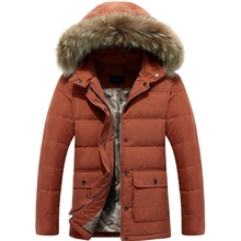 Men's Down Jackets Mens Brand Thick Warm Fur Collar Hooded Duck Down Coat Male Casual Winter Jacket Men chaqueta hombre