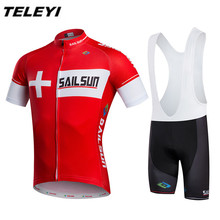 Hot Red Men MTB Cycling Clothing Suits bike Jersey Bib Shorts Sets Male Sports Pro team Ropa Ciclism Maillot Bicycle Top wear(China)