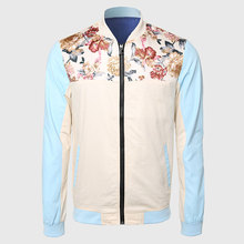 Men Cool Floral Jackets Mandarin Collar Travel Jacket Long Sleeve Khaki Blue Contrast Color Flower Print Shoulder Clothing