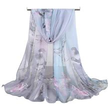 Buy direct from China Classics Vintage Beautiful cheap Women Soft Thin Chiffon Silk Scarf Animal Bird printed Scarves Wrap Shawl