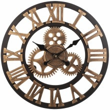 Soledi Vintage Clock European Retro Vintage Handmade 3D Decorative Gear Wooden Vintage Wall Clock (Copper Color)(China)