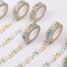 2 PCS 15mmX10m DIY Colored Herbaceous Plant Washi Tape Decorative Adhesive Tape Masking Tape Paper Stickers for Scrapbooking