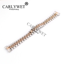 CARLYWET 20mm Wholesale Stainless Steel Jubilee Two Tone Rose Gold Solid Screw Links Wrist Watch Strap Bracelet With Curved End(China)