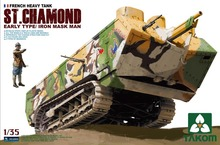 Takom model #2002 1/35 French heavy tank ST.Chamond early type with iron mask man(China)