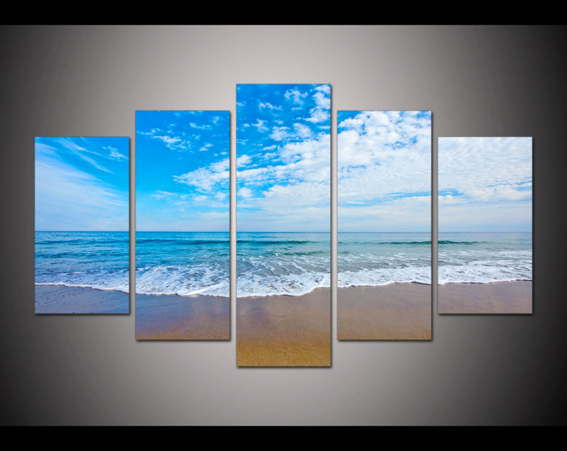 5 panel large HD printed oil painting blue sky sea beach canvas print art home decor wall art pictures for living room F0487(China (Mainland))