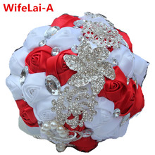 Customized Red White Crystal Beaded Marriage Broaches Bridal Bouquet Diamond Ribbon Holding Flowers Brooch Wedding Bouquet W228