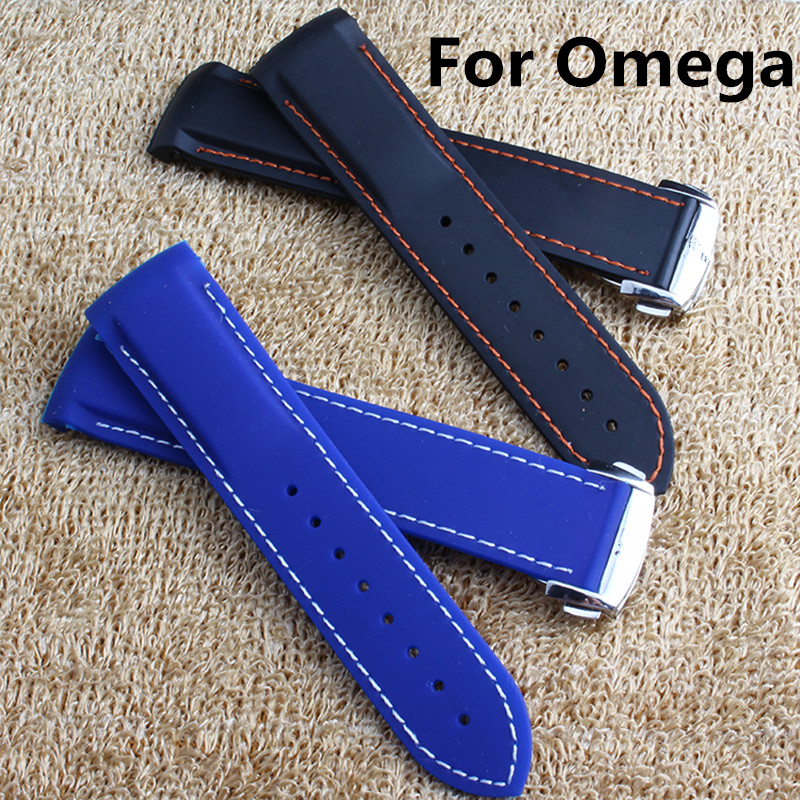 20MM 22MM Black Blue Natural Rubber Brand Watch Strap Waterproof Watchband For Omeg With Strap Clasp With Logo<br>