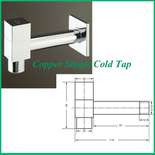 chrome Finish Square Copper Single Cold Tap Bibcock  Wall Mounted Min faucet  Washing Tap