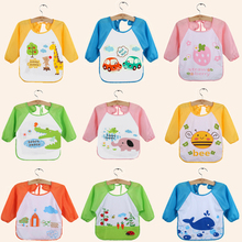 1 Pcs Cartoon Baby Bibs Waterproof Toddler Long Sleeve Bib Boys Girls Apron Smock Bib Burp Cloths Children Feeding Eating Smock(China)