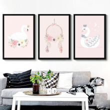 Nordic Decoration Kids Room Posters And Prints Pink Wall Art Canvas Painting Swan Canvas Art Wall Pictures Home Decor Unframed(China)