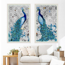 1 Pc DIY Canvas Resin Diamond Embroidery Painting Peacock Pictures Christmas Gifts Picture Home Decor Needle Sewing Arts Crafts