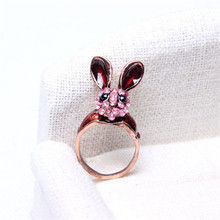 Free Shipping Fashion Rings Vintage Wine Red Full Jewelry Cute Long Rabbit Rings Hot Summer Finger Rings Popular Women Jewelry