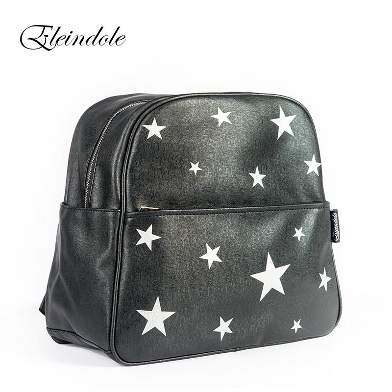 Eleindole 2017 Unisex Backpacks Stars Bag Waterproof Bag Side Buckles Black/Silver Hanging on Stroller Protable Mother Backpacks<br>