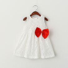 2016 Summer White Girl Lace Dress European Style Cotton Bow Childrens Dresses Princess Costumes 2-6Y Brand Girl Clothing