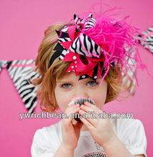 10 pcs/lot girls Headband zebra hot pink printed dots  hair clips bow and headband hairbows new topknot