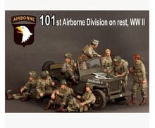 Free Shipping 1/35 Scale Unpainted Resin Figure  WWII 101st Airbone Division On Rest 9 figures