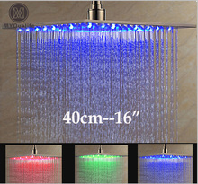 "Luxury Brushed Nickel LED 16"" Rainfall Shower Head Stainless Steel Square Color Changing Lights Showerhead(China)"
