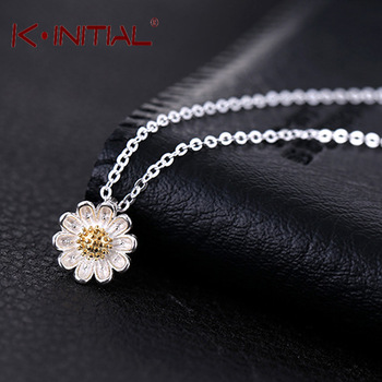 Kinitial 1Pcs Top 925 Silver Statement Flowers Pendant &Necklace Nigeria Bohemia Women Charm Cherry Flower Necklace Jewelry
