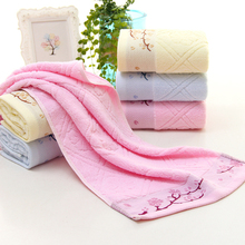 33*74cm Branches Plum Blossom Pattern Cotton Absorbent Towel Dry Hand Face Towels 3 Color(China)