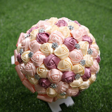 Hot selling pink+purple+cream crystal bridal wedding bouquets for wedding decoration(China)