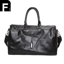 New Arrival Fashionable Mens PU Leather Travel Bag Vintage Weekend Duffle Handbags Large Capacity Women Business Luggage Bag(China)