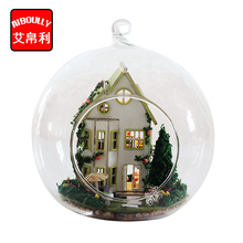 Greenwood Villa DIY Wooden Miniature Dollhouse 3D Kit & Glass Dust Cover Hut and Voice control light doll house(China)