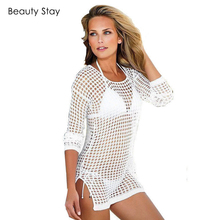 BeautyStay Women Ladies Sexy Breathable Beachwear Tunic Smock Casual Hollow Out Net Loose Transparent Sunscreen Grid Cover up