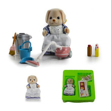 original Sylvanian Families dog mon with her clean tool Set New Loose