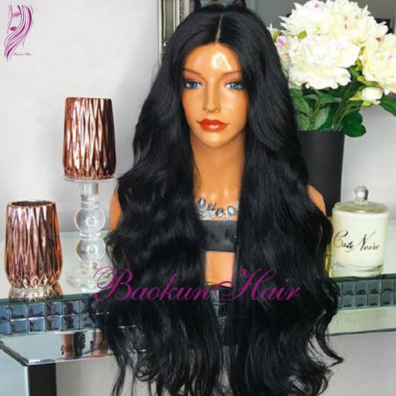 middle part Synthetic lace front Wigs For Black Women #1B braided wigs Heat Resistant Synthetic Lace Front Wig With Baby Hair <br><br>Aliexpress