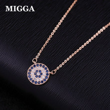 MIGGA Blue Cubic Zircon Crystal Evil Eye Pendant Necklace Short Clavicle Chain Women Choker Accessories(China)