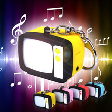 2016 Funny Led Keychain Creative Vintage TV Television Home Theater With Sound Light Dolls Kinds Toys(China)