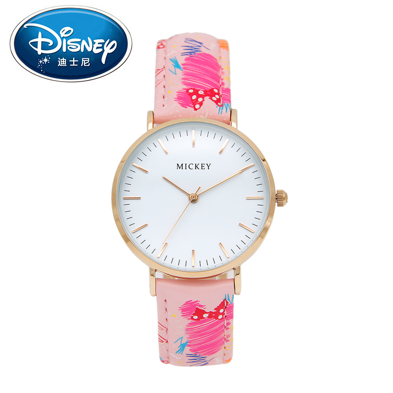 Disney Women Lady Watch Genuine Brand Simple Fashion Luxury Quartz Wristwatches Girl Student Leather Waterproof Mickey clock<br>