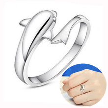 925 pure silver ring dolphin ring pinky ring opening fashion finger ring silver jewelry day gift