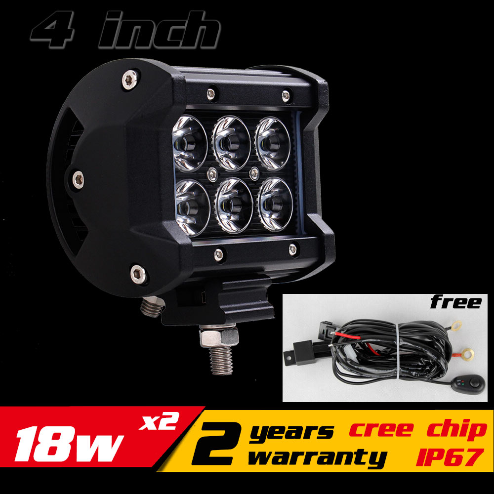 2x 4 18w LED Work Light Bar IP67 for Motorcycle Tractor ATV 4X4 Offroad Fog Light Driving Light Saveon 27 30w External Light<br>