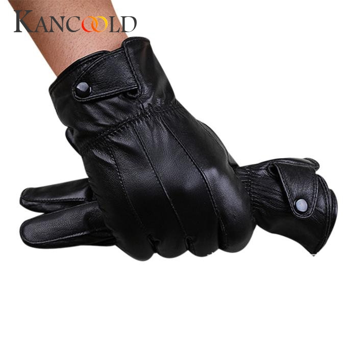 Men Fashion Warm Cashmere Leather Male Winter Gloves Driving Waterproof 1 Pair