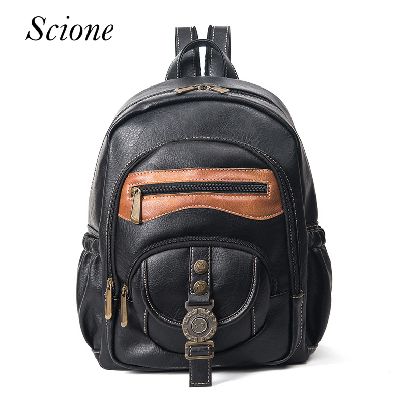 Brand Vintage Design Casual Backpacks Leather School Bag for Teenager Girls High Quality PU Leather Rucksack Mochila Rucksack<br>