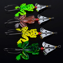 2014 New frogs Fishing Lure Set 4pcs/LOT Rubber Soft Fishing Lures Bass SpinnerBait spoon Lures carp fishing tackle(China)