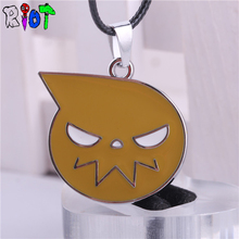 anime SOUL EATER Dark Star pendant alloy yellow Leather Chain choker necklace metal face Pendant Necklaces Unisex jewelry gift(China)