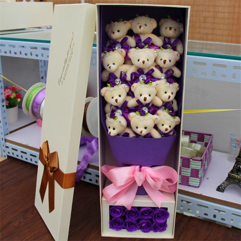 Holiday Decoration 12Teddy Bears and 8Soap flowers Cartoon Bouquets Valentines Day Birthday Gift free shipping<br><br>Aliexpress