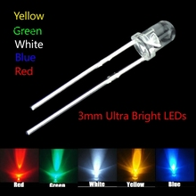 500pcs/lot 3mm New Round water clear Red/ Green/Blue/Yellow/White Water Clear LED Light Lamp combination packaging kit