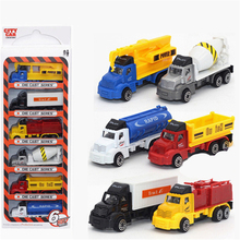 6PCS Style Truck Alloy Plastic Engineering Pull Back Car Toy Dump Truck Model Trucks Model Toy Crane Dinky kids Toys Gift jouet