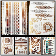 1PC Summer Style Men Women Body Art Gold Metallic Tattoo Sticker HYS-101 Chain Bracelet Fake Jewelry Waterproof Temporary Tattoo