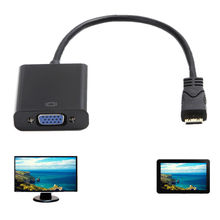 Latest Chipset Mini HDMI Male to VGA Female Video Converter Adapter AV TV Cable(China)