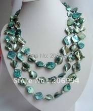 "Fashion jewelry beautiful long 60"" 3 row pearl blue shell necklace handmade jewelry"