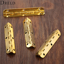 DRELD 4Pcs 65*15mm Gold Cabinet Hinges Furniture Hardware Jewelry Chest Gift Wine Music Box Wood Dollhouse Door Window Hinge(China)