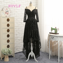 HVVLF Black 2018 Prom Dresses A-line Spaghetti Straps Short Front Long Back Bow Lace Prom Gown Evening Dresses Evening Gown(China)